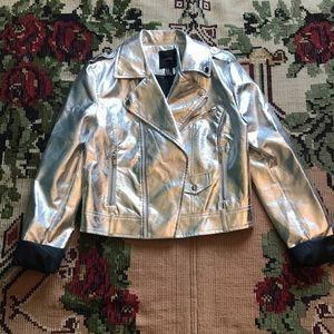 Silver metallic jacket.